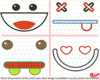 Cute Emoji Embroidery Design emoticons smile Kawaii funy Expression faces 185b