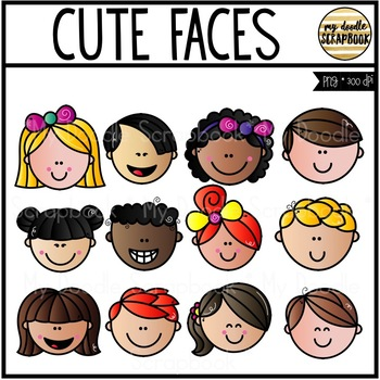 Cute Faces (Kids Clip Art for Personal & Commercial Use)