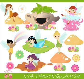 Cute Fairies Fairy Fairy Tale Fairytale Tinkerbell Clipart Set