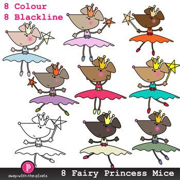 Cute Fairy Princess Mouse Clip Art - 8 Color Images and Blackline Mice
