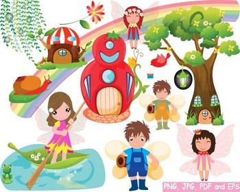 Cute Fairy fantasy Rainbow watercolor woodland Bees clip art super hero -167