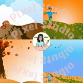 Cute Fall Backgrounds Clipart/Digital Paper