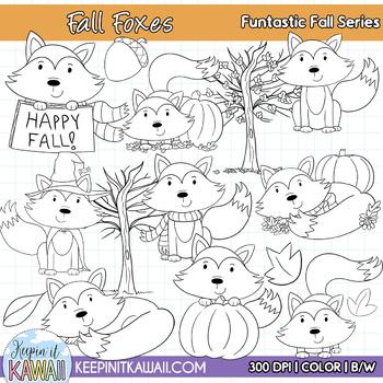 Cute Fall Foxes Clip Art Set
