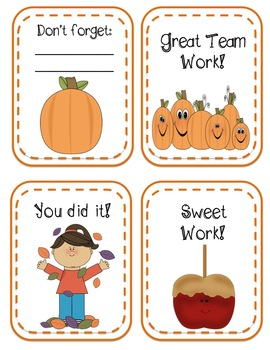 Cute Fall Teacher Notes (Autumn, Halloween, & Thanksgiving)