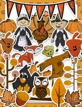 Cute Fall / Thanksgiving Clip Art Pack