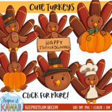 Cute Fall Turkeys Clip Art Set