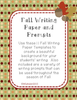 Cute Fall Writing Paper (Fall, Halloween, and Thanksgiving)