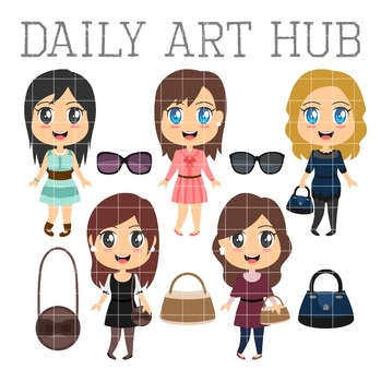 Cute Fashion Girls Clip Art - Great for Art Class Projects!