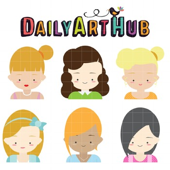 Cute Female Character Faces Clip Art - Great for Art Class Projects!
