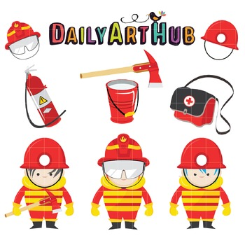 Cute FireFighters Clip Art - Great for Art Class Projects!