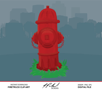 Cute Firetruck Digital Clip Art - Digital File - Cartoon Style Firetruck Clipart