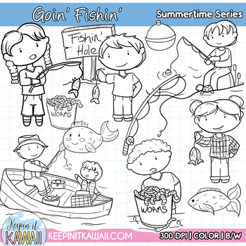 Cute Fishing Clip Art Set Summer Time Series