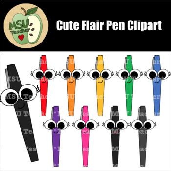 cute flair pens clipart by msu teacher teachers pay teachers cute flair pens clipart