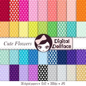 Cute Flower Digital Paper, Floral Scrapbook Paper