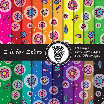 Cute Flower/ Doodle Themed Digital Paper Pack - Commercial Use ok