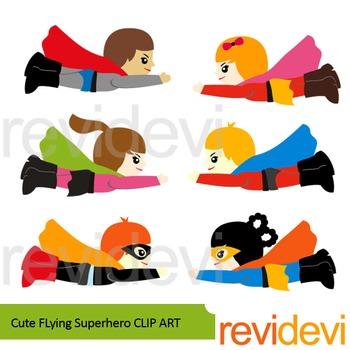 Cute Flying Superhero clip art