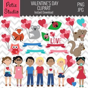 Valentine's Day Clipart // Valentine Kids Clipart // Heart Balloons - EV117
