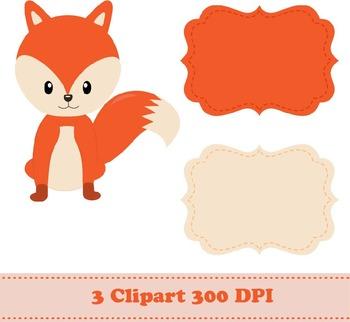 Cute Fox Digital Paper + Clipart