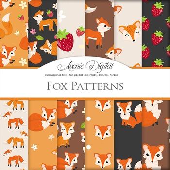 Cute Fox Digital Paper, Foxes and strawberry autumn fall backgrounds pattern