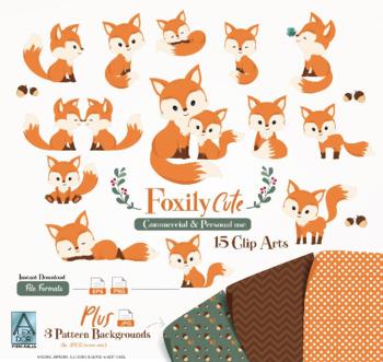 Cute Fox clip art, Baby Fox, Mommy, woodland vector clipart png