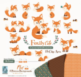 Cute Fox clip art, Baby Fox, Mommy, woodland vector clipart png