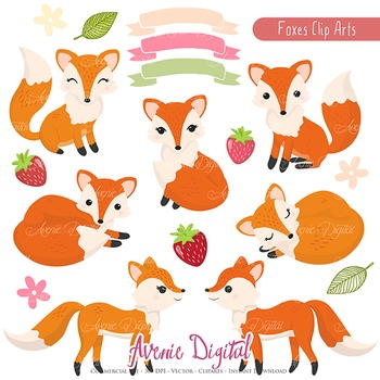 Cute Fox illustrations, Foxes and strawberry autumn fall - clip art - clipart