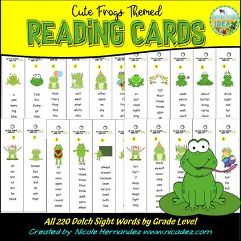 Sight Words - Cute Frog Reading Cards