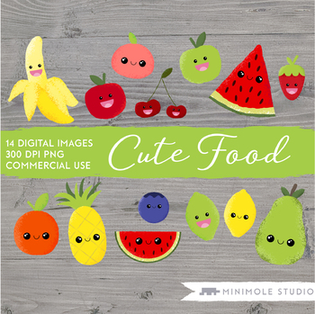 Cute Fruit Clip Art, Healthy Eating Graphics