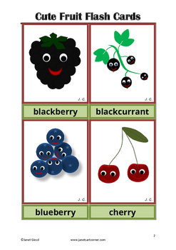 Cute Fruit Flash Cards