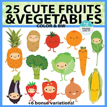 Cute Fruits & Vegetables Clipart by Prime and Pi | TpT