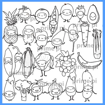 Cute Fruits & Vegetables Clipart