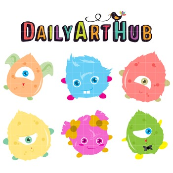 Cute Furry Monsters Clip Art - Great for Art Class Projects!