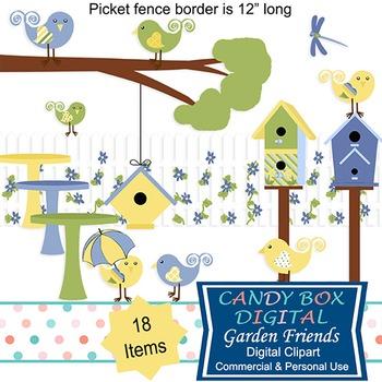Cute Garden, Bird and Birdhouse Clip Art