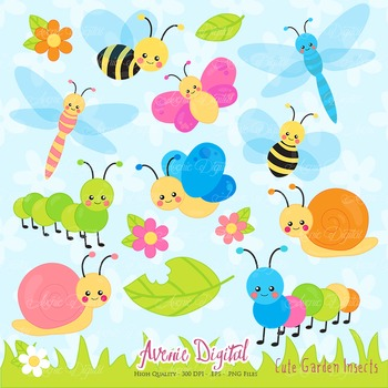 Cute Garden bugs Clipart Scrapbook Commercial Use. Insects graphics