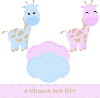 Cute Giraffe Digital Paper + Clipart
