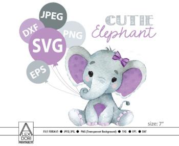 Cute Girl Elephant Svg Vector Clip Art Baby Girl Elephant For Baby Shower