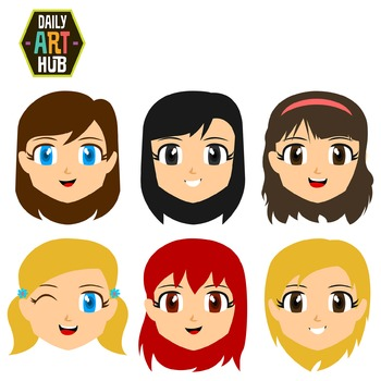 Cute Girl Faces Clip Art - Great for Art Class Projects! Make Adorable Masks