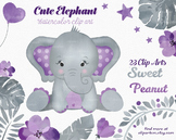 Cute Girl Peanut purple and gray elephant clipart - waterc