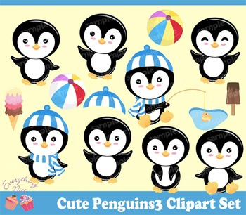 Cute Girl Penguins 3 Clipart Set