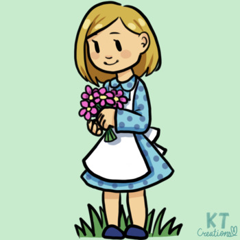 Cute Girl Picking Flowers