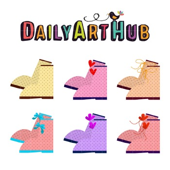 Cute Girls Boots Clip Art - Great for Art Class Projects!