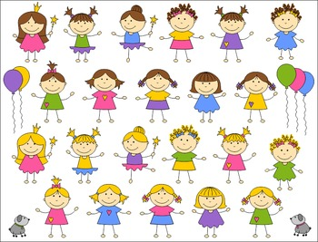 Cute Girls Clip Art Set