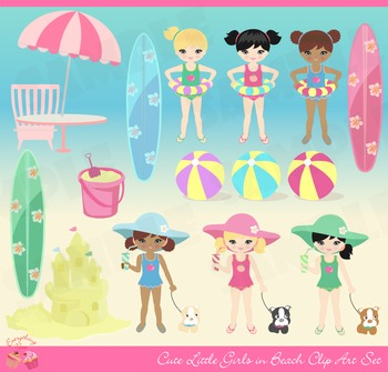 Cute Girls on the Beach Clip Art Set