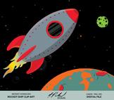 Cute Gray Rocket Ship Digital Clip Art - Digital File - Space Rocket Clipart