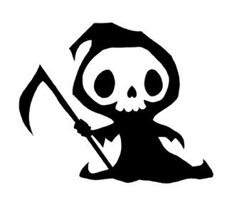 Cute Grim Reaper Black and White Clip Art