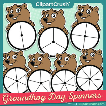 Cute Groundhog Day Spinners - Groundhog Game Clipart Spinner Set!
