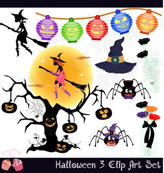 Cute Halloween 3 Clip Art Set