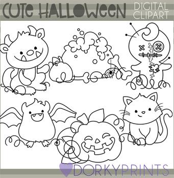 Cute Halloween Blackline Clipart