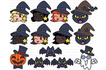 Cute Halloween Clipart SVG, Halloween SVG, Pumpkin, Ghost, Cat, Witch, Bat.