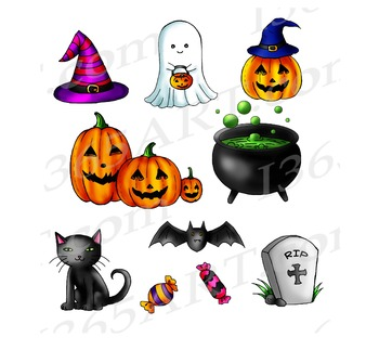 Cute Halloween Clipart Set, For Halloween Parties and Invitations